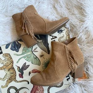 Bass brown suede Eve fringe ankle boots